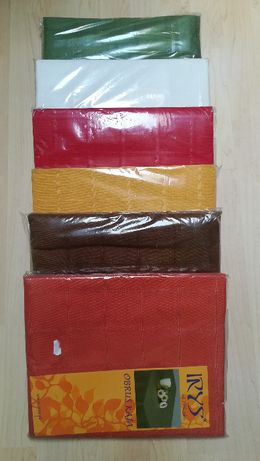 Obrus jednokolorowy Kaja 140x220 NOWY ecru czerwony zielony brązowy