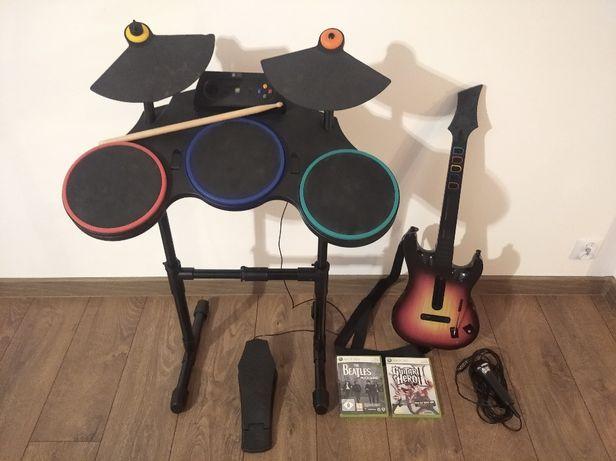 GIUTAR HERO II Duży zestaw: perkusja, gitara, mikrofon i dwie gry