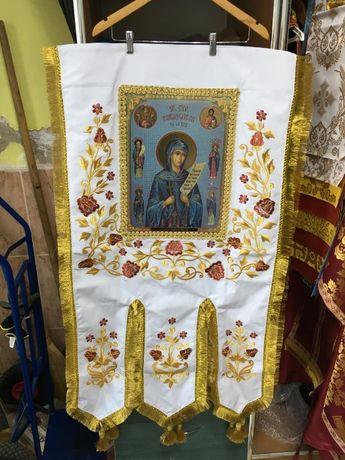 Хоругви ( церковні ) на габардині з іконами 70х125см.