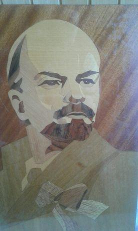 Портрет Ленина Леніна дерево инкрустация