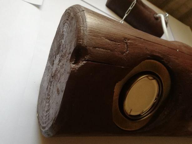 Lampa, żyrandol Led w stylu retro drewniana