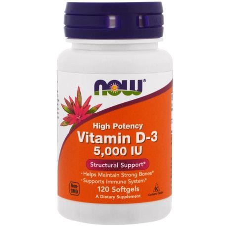 Витамин D-3, высокоактивный, 5000 МЕ, 120 табл. Now Foods США