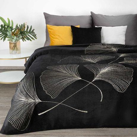 Koc 150x200 GINKO z motywem liści miłorzębu czarny