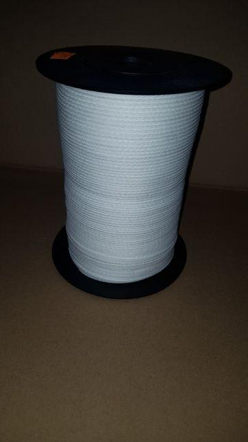 TAŚMA bawełniana 5mm BIAŁA w jodełkę 500mb cała rolka