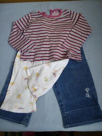 Лот одежда для девочки джинсы, шорты для сна и реглан 1-2 года
