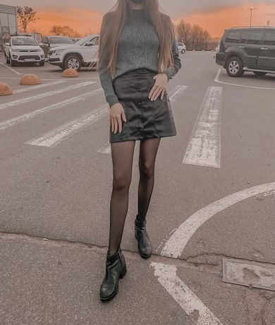 Черные ботинки на каблуке Stradivarius