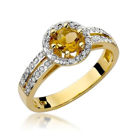 -20% Złoty pierścionek z cytrynem i brylantami 585 - Goldrun Chorzów