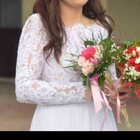 Sukienka ślubna herms aragonite boho koronka