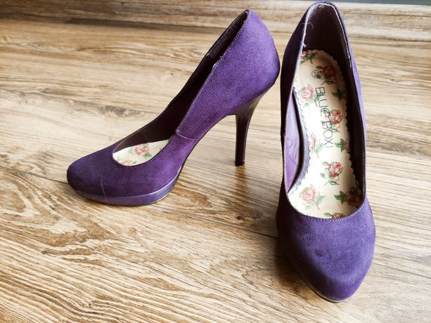 Zamszowe fioletowe buty