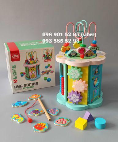 Деревянный логический куб сортер пальчиковый лабиринт развивающая игра