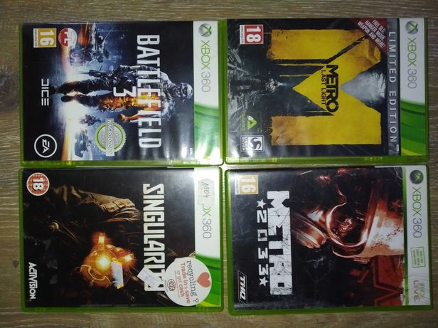 Xbox 360  - metro last night, metro 2033, battlefield 3, singularity