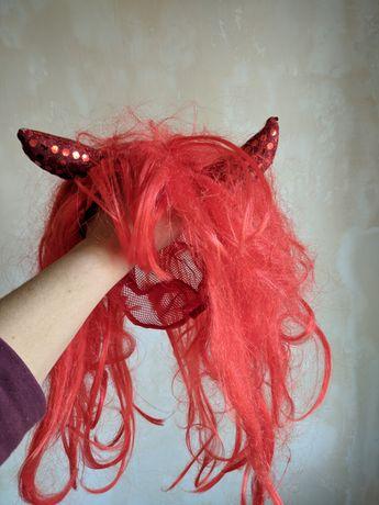 Парик чертовка красные волосы хэллоуин костюм карнавальный Halloween