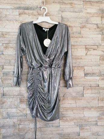 Sukienka srebna metaliczna r. M