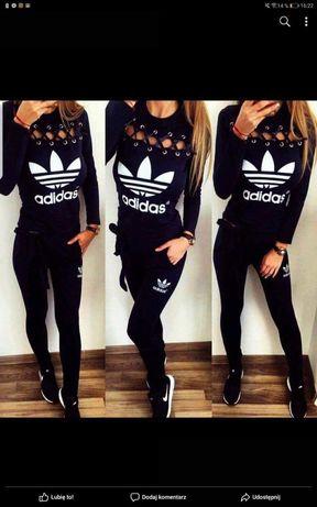 Dresy damskie z logo Adidas czarne i bordowe S-Xl!!!