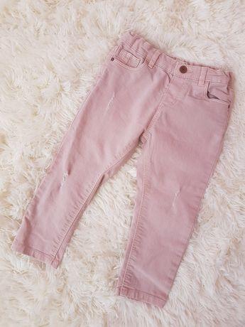 Spodnie ZARA jeansy 92cm różowe