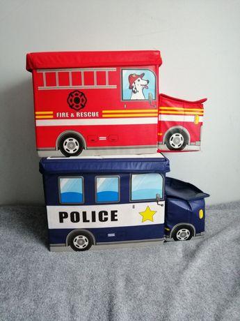 2 pudełka pufy pojemnik organizer na zabawki straż policja