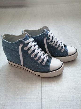Trampki na KOTURNIE r. 39 buty założone 2 razy wysokie jeansowe
