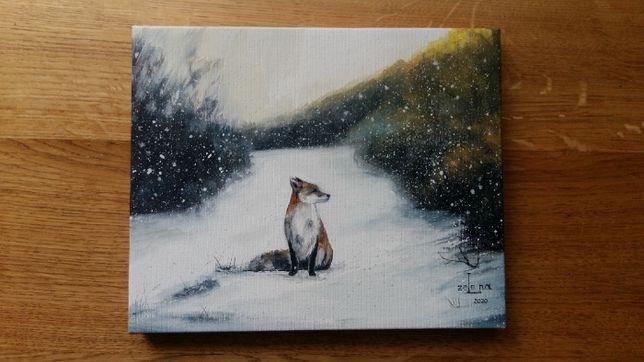 Картина лис лиса охота зима зимний зимовий пейзаж лес лисичка масло