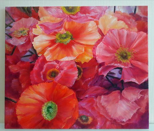 Картина масло холст 60на 70 цветы выполнены в красном, розовом, желтом