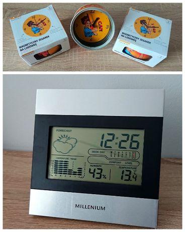 komplet stacja pogodowa Millenium + 3 zegarki magnetyczne