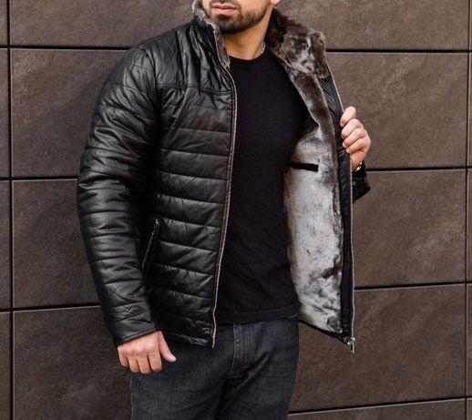 Зимняя кожаная куртка Мужская теплая куртка из кожи Теплая кожанка