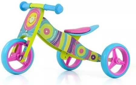 Milly Maly drewniany rowerek biegowy 2W1  rainbow tęcza
