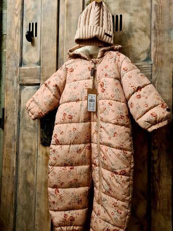 NewbieGRATIS czapka 44/46 rozowa nowa kombinezon 80 zimowy