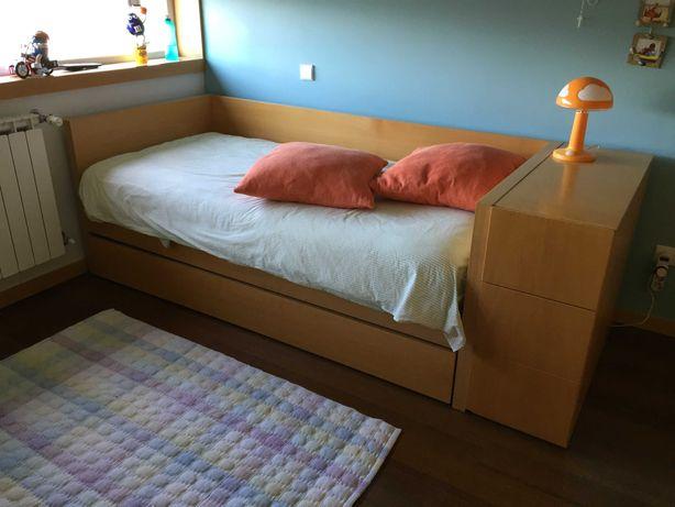 Quarto completo de jovem com 2 camas, Estante e Movel de Apoio