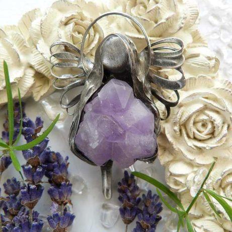 wisior talizman anioł aniołek rękodzieło ametyst różowy