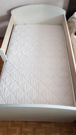 Łóżko dziecięce białe szuflada z materacem
