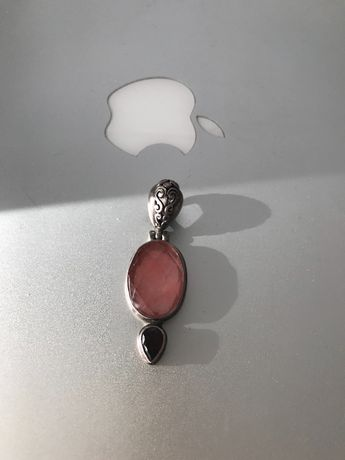 Wisior kwarc różowy granat