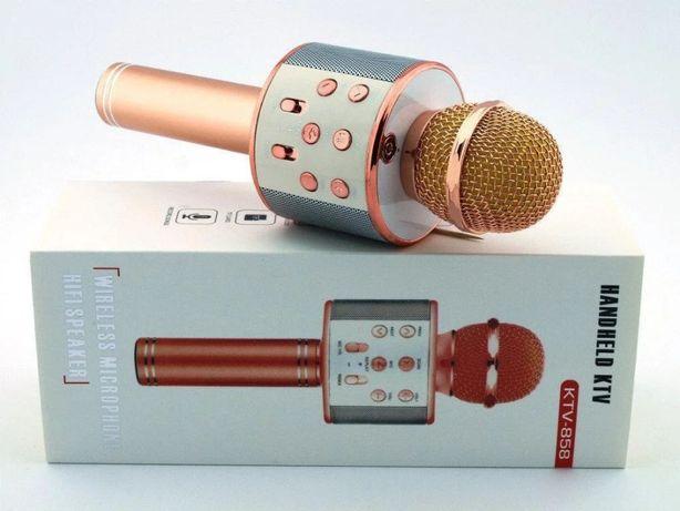 Аудио колонка-микрофон WS-858 розово-золотой (коробка)