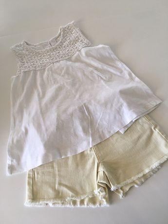 Calções e blusa de menina, 7 anos