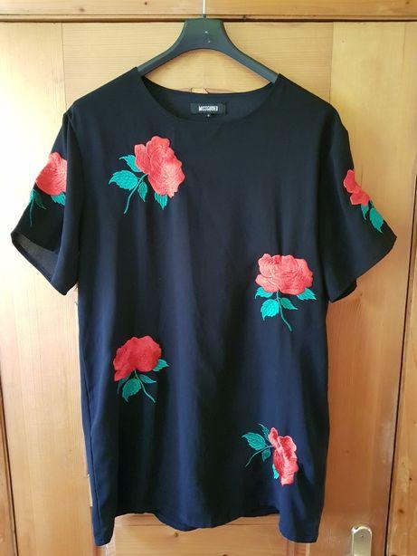Missguided roze t shirt bluzka koszulka haftowana haft