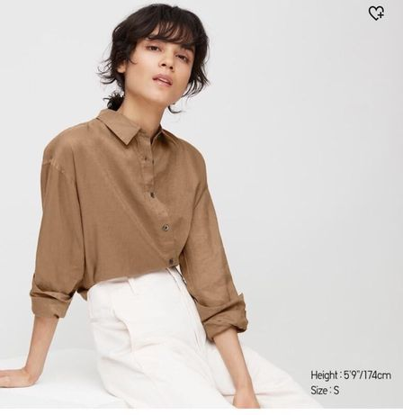 Рубашка лен uniqlo s