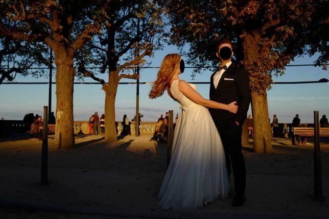 Śmietankowa suknia ślubna rozmiar 38/40 wzrost 170-175cm