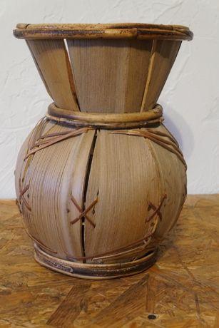 Wazon Orientalny Drewniany Ręczna Robota Retro Vintage Design