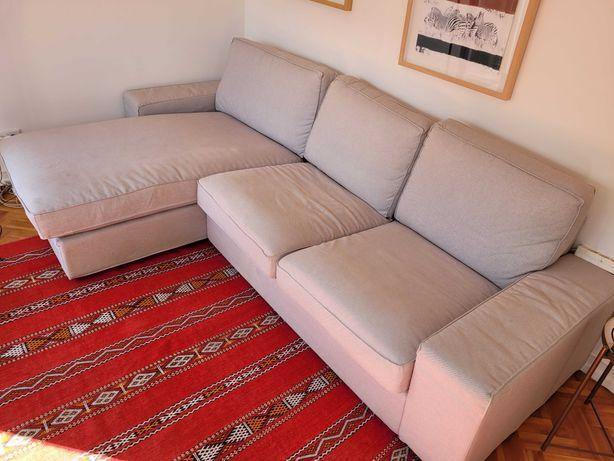 Sofa kivik 3 lugares cinzento com chaise longue