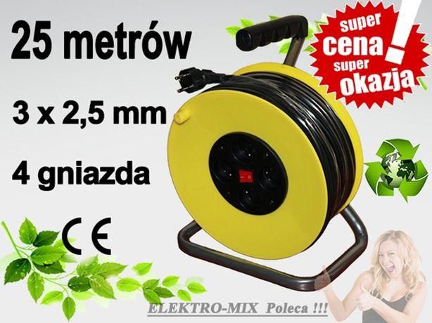 PRZEDŁUŻACZ BĘBNOWY Ogrodowy 25M 3x2,5mm Gruby !!