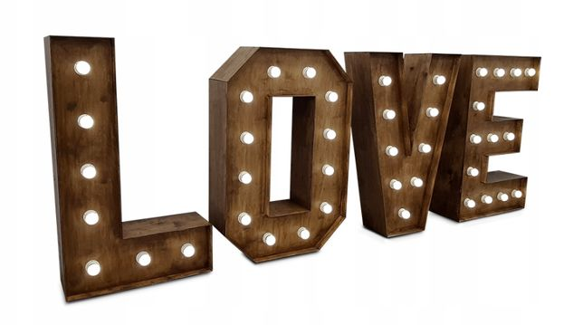 Rustykalny podświetlany napis LOVE 120 cm ! Śląsk i okolice