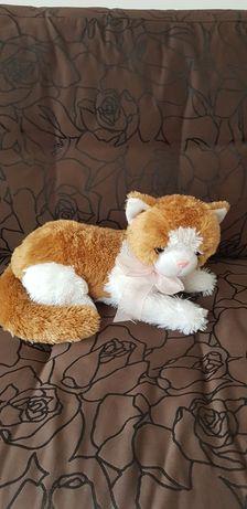 Pluszowy kot biało-brązowy miauczy 33 cm długości