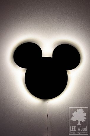 Lampa nocna, drewniana LED - Myszka Miki