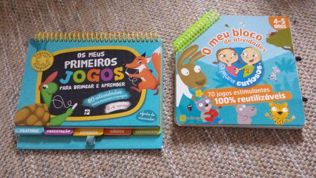2 livros de atividades de folha dura e apagável