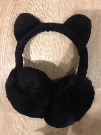 Nauszniki czarne uszy kota zara kids na dziewczynkę 138cm na zimę