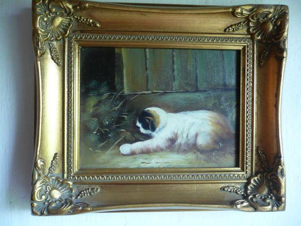 obraz olejny zdobiona rama szczeniak pies