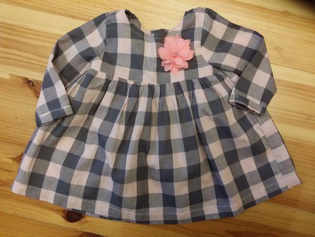 Cool Club sukienka w różowo szarą kratę z kwiatkiem r. 68
