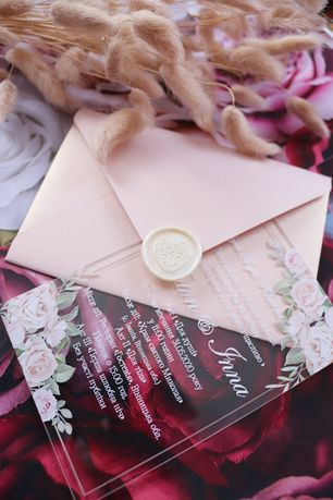 Запрошення, акрил, весілля, свадебные приглашения, акрилові запрошення