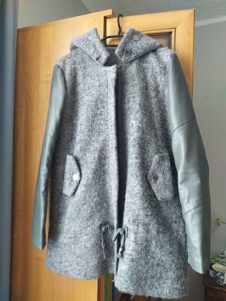 Kurtka płaszcz szara skóra wełna M/L