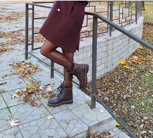 Кожаные сапоги, демисезонные, осенние,весенние ботинки