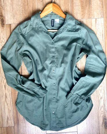 Divided H&M 36 S koszula zielona oliwkowa elegancka modna
